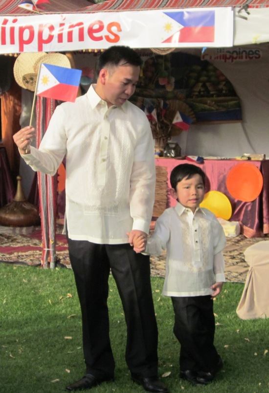 Dad and I proudly wore the Philippine National Dress in a cultural night held in Danal Hotel, Al Ain, Abu Dhabi.